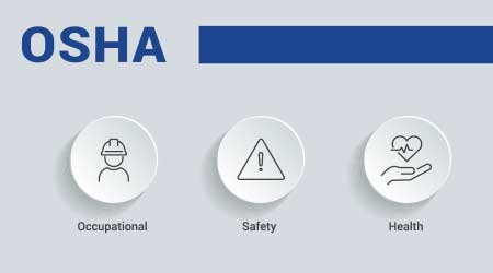 OSHA - Occupational Safety and Health Administration - Vector Illustration concept banner with icons and keywords  Y