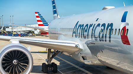 CHICAGO, IL - JULY 27, 2017: American Airlines plane on the airport. The company is based on Dallas, TX.