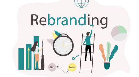 Flat vector illustration. Content marketing strategies for Rebranding of business. Concept of team work, people connecting.