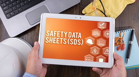 SAFETY DATA SHEETS (SDS) on tablet pc, Safety & Health at Work Concepts