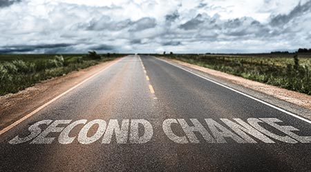 second chance written on a road