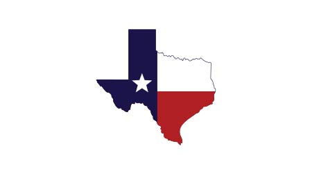 Texas map icon. Texas flag inside the map.Vector illustration.