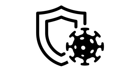 Immune system concept. Hygienic medical black shield protecting from coronavirus COVID-19 icon. Human immunity sign. Corona virus defense symbol vector isolated illustration