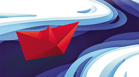 Red boat floating in river graphic