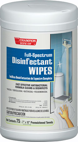 7-inch by 10-inch Full-Spectrum Disinfectant Wipes: Chase Products Co.