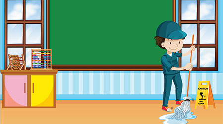 Janitor cleaning the classroom illustration