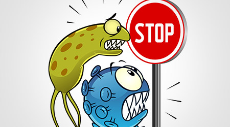 Illustration of viruses and bacteria stopped at a stop sign