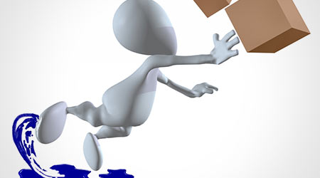 3D Illustration of a man tripping while carrying boxes