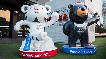 Mascots of the Winter Olympic Games 2018 in Pyeongchang - a white tiger Soohorang and Himalayan bear Bandabi