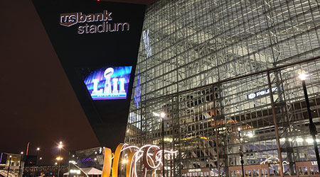 Minnesota Vikings US Bank Stadium in Minneapolis at Night, site of Super Bowl LII