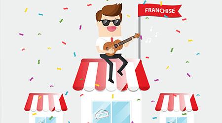 businessman playing ukulele in grand opening franchise