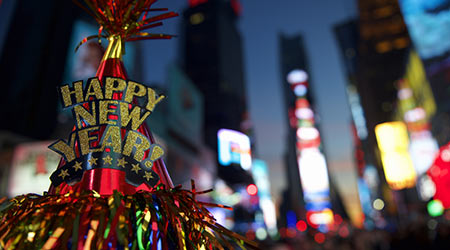 Happy New Year hat with colorful decoration in Times Square New York City
