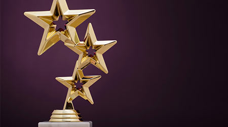 Gold winners award with three stars to be awarded to the first place in a competition or championship
