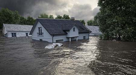 flooding houses with rising water in a 3D rendering