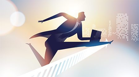 Illustration of business man leaping over hurdle