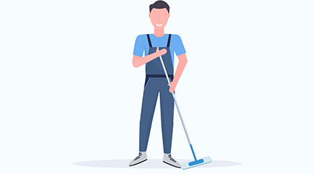 Illustration of man holding mop