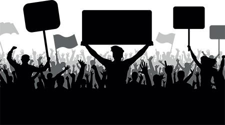 Demonstration, manifestation, protest, strike, revolution. Silhouette background vector, angry mob