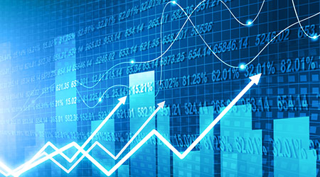 stock market finance graph background with abstract Growth graph chart