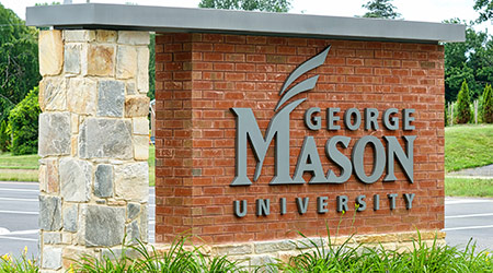 Sign marking entrance to George Mason University