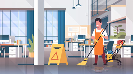 Vector image of a male janitor cleaning an office