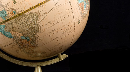 globe with focus on south america and south Atlantic ocean