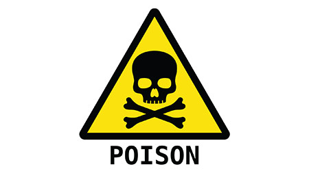 yellow and black vector image of sign for poisoning