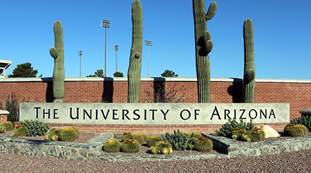 An entrance to The University of Arizona located in Tucson, Arizona on March 16, 2014. The University of Arizona is a public research university founded in 1885.