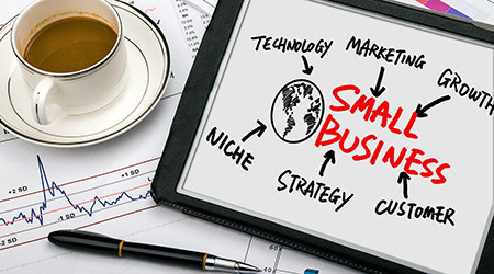 small business concept diagram hand drawing on tablet pc