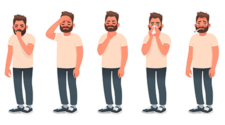 Symptoms of a viral infection and respiratory illness. A sick man coughs and sneezes. Headache, sore throat, runny nose, fever. Coronavirus COVID-19. Vector illustration in cartoon style