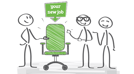Start new career, your new job. Stick figures in black and white vector image. Only colored thing is a green chair.