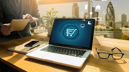 e-commerce concept on laptop