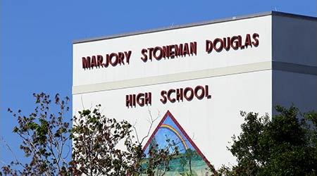 PARKLAND, FL, USA - APRIL 25: The Marjory Stoneman Douglas High School in Parkland, Florida on April 25, 2018. The school was the site of a school shooting in 2018 which sparked nationwide protests.
