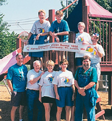 """The cleaning industry has always given back to those in need. The best example may be when NJSSA's """"Operation Clean Sweep"""" became  a national community-based program starting in 1995. Pictured here are volunteers from Renard Paper in  St. Louis in 1998."""
